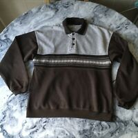 Vintage M&S St Michaels Mens Brown Polo Sweatshirt Jumper Knit Effect Small S