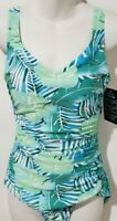 Maxine of Hollywood One Piece Swimsuit Shirred Side Girl Leg Minimizer Teal