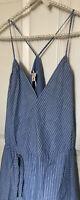 $298 NWT JOIE Sz L HEPZIBAH STRIPED CHAMBRAY WRAP ASYMMETRIC DRESS COLOR BLUE