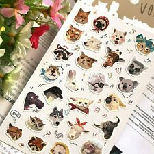 Funny Animal Stickers Dog Bear Fox Alpaca Owl Cardmaking Scrapbook Album Diary