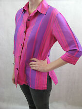 Simona Size 10 Pink Purple Silk Button Down Blouse