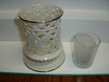 Lenox Pierced China Votive Candle Holder w/ Pure 24K Gold Trim with candle
