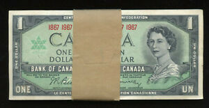 1867 - 1967 Bank of Canada $1 Centennial Bundle of 100 Banknotes