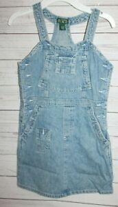 The Children's Place Girls Overall Dress Distressed Blue Denim Dress Size 6X/7