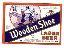 Unused Wooden Shoe Paper IRTP Beer Bottle Label - Minster, Ohio OH.
