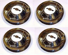 1955 1956 Hub Caps (4) Chrome w/ White Details 1/2 ton Chevy Pickup Truck 55 56