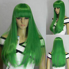 Long Straight Green Full Bangs Fringe Cosplay Party Synthetic Hair Full Wig