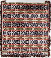 "BUCKS Co., Pennsylvania Dated 1844 Jacquard Coverlet Bed Blanket 95X88"""