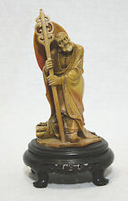 Well  Hand  Carved  Chinese  Shou-Shan  Stone  Louhan  Figre On Wood  Stand F13