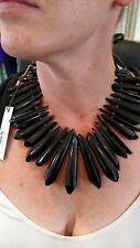 AWESOME VINTAGE MONIES BLACK ACRYLIC & LEATHER NECKLACE.  NEVER WORN. W/ TAGS!