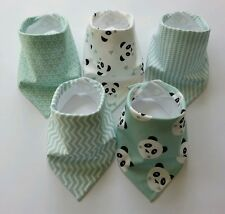 Gender Neutral Baby Bandana Dribble Bib Bundle. Mint Pandas. My Little Owl Bibs
