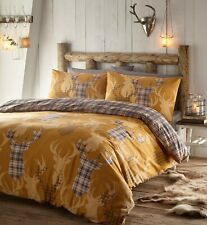 TARTAN STAG REVERSIBLE DUVET SET OCHRE/MUSTARD SINGLE, DOUBLE, KING & SUPER KING