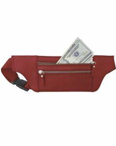 Handcrafted Cowhide Leather Waist Fanny Pack Shoulder Bag Thin Money Belt