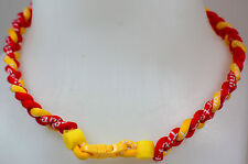 "New! 20"" Custom Clasp Braided Sports Red Yellow Rojo Tornado Necklace Twisted"