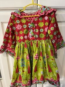 Jelly And The Pug Dress Size 4 Girls Christmas Print Green Red Tree hooded EUC
