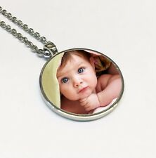 Personalised Pendant Photo Necklace, Silver, Any Image, Keepsake Gift for Her