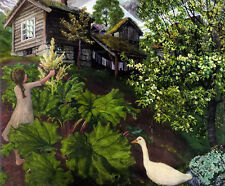 Oil painting nikolai astrup - little girl with goose in spring yard landscape NR