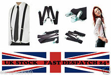 Unisex Suspenders Men Women Adjustable Belts X Shape Black Braces Clip-on