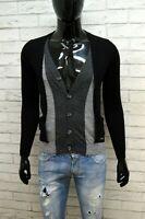 Maglione ICEBERG Taglia S Slim Shirt Cardigan Pullover Lana Uomo Nero Grigio