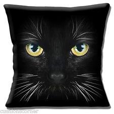 "Gato Negro 16""x16"" 40cm Cubierta para Cojín Gato Con Ojos Amarillo Verde Blanco Bigotes"