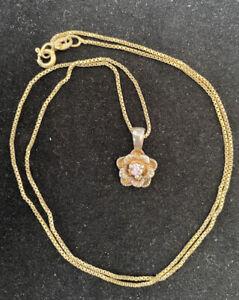 Sophia S Fiori Sterling Silver Pink Sapphire Center Flower Pendant Necklace