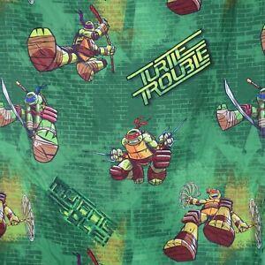 TMNT Nickelodeon Teenage Mutant Ninja Turtle Trouble Twin Flat Sheet Green