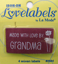 MADE WITH LOVE BY GRANDMA Woven Labels (Qty-4) Iron-On/Sew-In