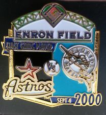 HOUSTON ASTROS vs FLORIDA MARLINS First Game Played ENRON FIELD Lapel Pin