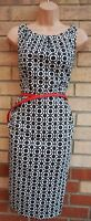 NINE WEST WHITE BLACK FLORAL RED BELTED SLEEVELESS PENCIL BODYCON DRESS 6 XS