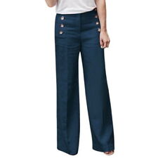 US STOCK Women Linen Cotton Wide Leg Pants Pure Color High Waist Trousers BM