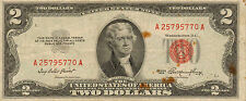 1953 $2 United States Note, Red Seal, Circulated Medium to High Grade (Z-186)