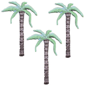 """Palm Tree Applique Patch - Tropical Island Badge 1.5"""" (3-Pack, Iron on)"""