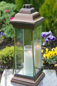 Grablicht 40cm Grablaterne bronze Lampe Grableuchte Glas Grabschmuck Kerze