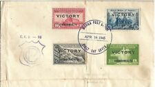1945 Philippine Islands VICTORY First Day Cover Four Stamps w Double Overprint