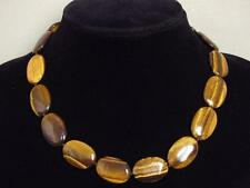 Gemstone Necklace Gold Tiger Eye 25mm Flat Oval