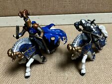 Lot of Two Papo Knight Action Figures and Two Horses