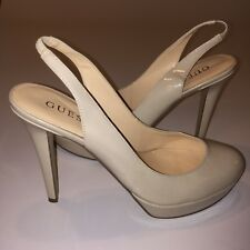 Guess Slingback Pumps Size 9M Nude Patent Round Toe High Heels Shoes Platform