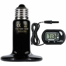 Zacro Reptile Heat Lamp 150W One Digital Thermometer, Infrared Ceramic Heating