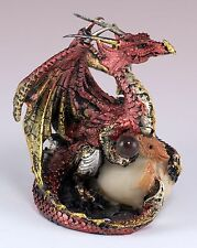 """Small Red Dragon w/Baby In Egg Figurine Crystal Ball 3"""" Detailed Resin New!"""