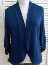 CHICOS EASYWEAR OPEN JACKET size 2/14 Blue 3/4 Sleeve Women's