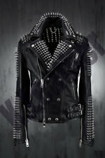 New Mens Full Black Punk Silver Long Spiked Studded Cowhide Leather Jacket