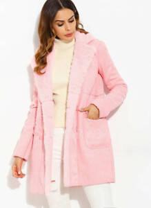 NEW Ladies Women Floryday FAUX SHEEPSKIN STYLE FAUX FUR LINE COAT Size XS,M PINK