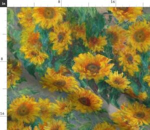 Monet Sunflowers Painting Sunflower Spoonflower Fabric by the Yard