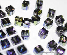 #5601 Swarovski Crystal Cube Square Beads Special Coating assorted colors