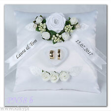 ~ Personalised wedding ring cushion pillow with rings holder box Rose names ~