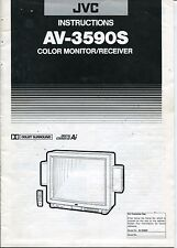 "Vintage Jvc Owners Manual: ""Color Monitor/Receiver"" Model Av-3590S"