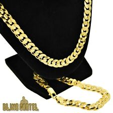 "30"" Curb Hip Hop Chain & 9"" Cuban Bracelet Set 14k Gold Plated Mens Miami Combo"