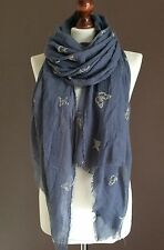 OVERSIZE LADIES SOFT BUTTERFLY PRINT FRAYED FASHION SCARF DENIM BLUE 100%VISCOSE