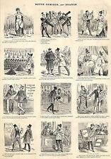 HUMOUR REVUE COMIQUE PAR DRANER GRAVURE ILLUSTRATION 1887