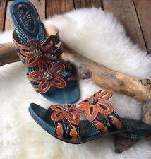 Spring Step Women's Carlina Sandal Slip On Floral Blue Gold Rhinestone 39 AB17